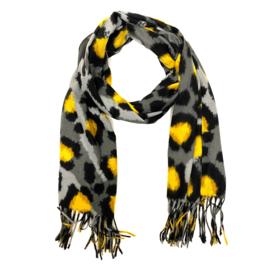 Zachte wintersjaal met luipaardprint  in grijs/oker