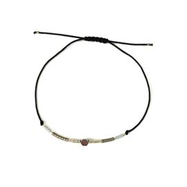 Armbandje met koord en miyukikraaltjes | Silver A