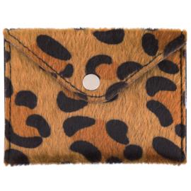 Miniportemonnee met leopardprint in cognac/zwart