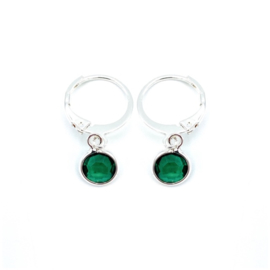 Oorringetjes zilver 'Crystal Glass' in emerald green