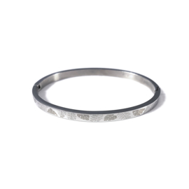 Stainless steel bangle in zilver | Leaves
