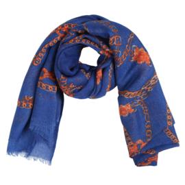 Sjaal met kettingprint in kobalt/oranje