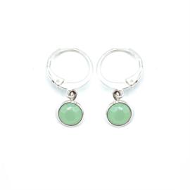 Oorringetjes zilver 'Crystal Glass' in powder opal green