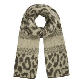 Zachte wintersjaal met luipaardprint in taupe/beige