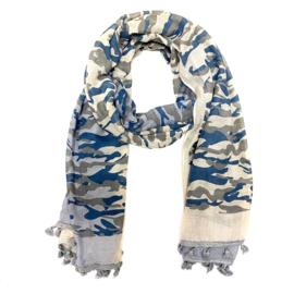 Sjaal met camouflageprint in beige/grijs/blauw