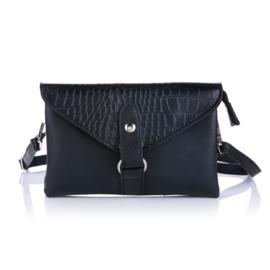 Handtas met crocodesign in zwart