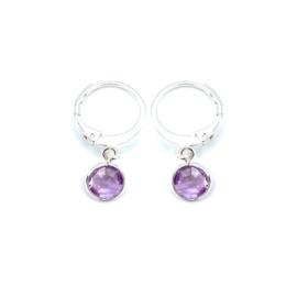 Oorringetjes zilver 'Crystal Glass' in violet purple