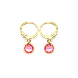 Oorringetjes goud 'Crystal Glass' in light rose