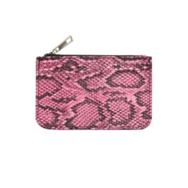 Portemonnee met slangprint roos/zwart