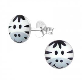 Oorstekertjes in 925 zilver 'Zebra 1'