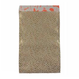 Cadeauzakje met bolletjes goud/wit | 12x19cm | 5 stuks