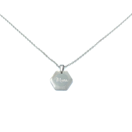 Stainless steel halsketting in zilver | MOM