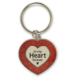 Sleutelhanger hartje 'In my heart forever'