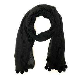Sjaal plissé in zwart met pomponnetjes