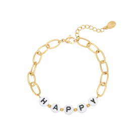Stainless steel armbandje in goud | HAPPY