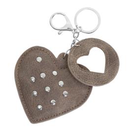 Sleutelhanger met studs in taupe 'Hearts'