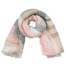 Sjaal met ruit in ecru/beige/roos/grijs
