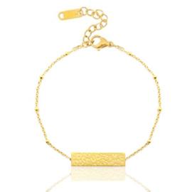 Armband in goud met luipaardprint-plaatje (RVS)