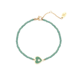 Stainless steel armbandje met kraaltjes in groen | Heart