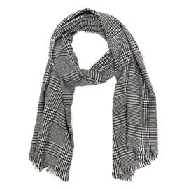 Zachte wintersjaal met ruit in zwart/wit