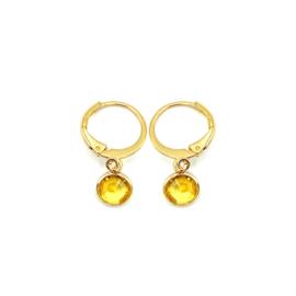 Oorringetjes goud 'Crystal Glass' in crystal golden shadow