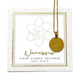 Stainless steel halsketting in goud | Birth Flower | DECEMBER