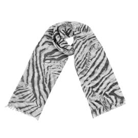 Sjaal met zebraprint in wit/zwart/grijs