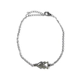 Stainless steel armbandje in zilver | Driehoekjes