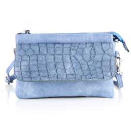 Handtas met crocodesign in jeansblauw