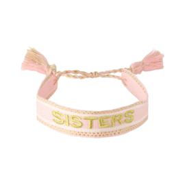 Geweven armbandje 'SISTERS' in lichtroos/goud