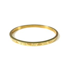 Stainless steel bangle in goud | Leaves