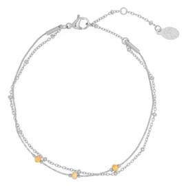 Stainless steel armbandje in zilver/oranje