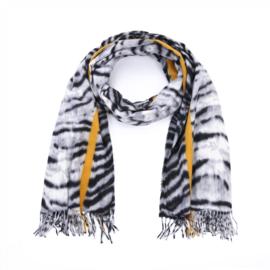 Zachte wintersjaal met tijgerprint en streep in grijs/zwart/oker