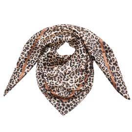 Sjaal met luipaardprint in ecru/zwart/camel
