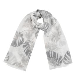 Sjaal met bladprint in wit/grijs