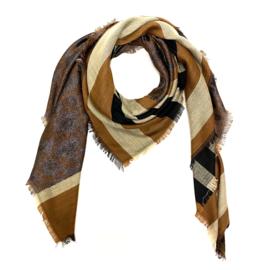 Sjaal met streep- en luipaardprint in cognac/grijs/zwart