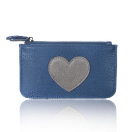 Portemonnee met hartje in donkerblauw/grijs