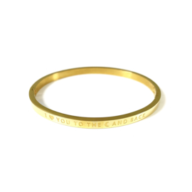 Stainless steel bangle in goud | I LOVE YOU TO THE MOON AND BACK