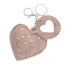 Sleutelhanger met studs in oudroos 'Hearts'