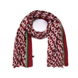 Zachte wintersjaal met kettingprint in rood/groen/bordeaux