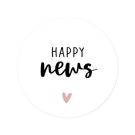 Sticker 'Happy news' | Pink heart | 10 stuks