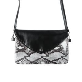 Handtas met slangenprint in zwart
