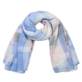 Sjaal met ruit in ecru/lichtblauw/roos/grijs