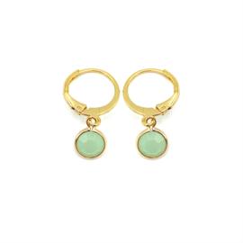 Oorringetjes goud 'Crystal Glass' in powder opal green