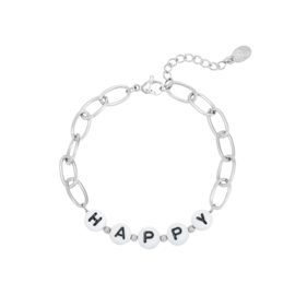 Stainless steel armbandje in zilver | HAPPY