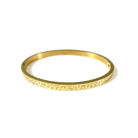 Stainless steel bangle in goud | Leopard Small