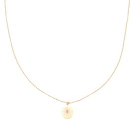 Halsketting 'SWEET' in goud/fuchsia