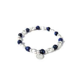 Armbandje met kralen in mat zilverkleur/donkerblauw | LOVE