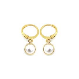 Oorringetjes goud 'Pearl'