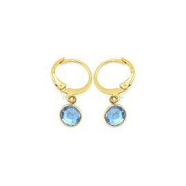 Oorringetjes goud 'Crystal Glass' in light sapphire